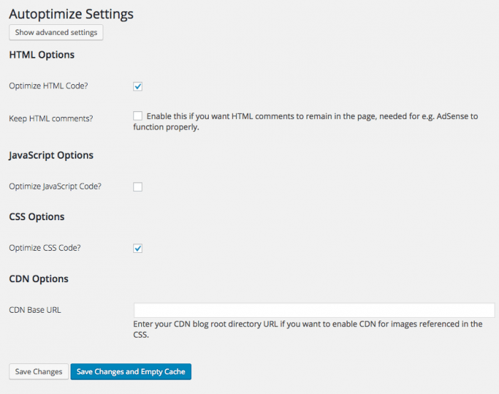 Autoptimize Settings